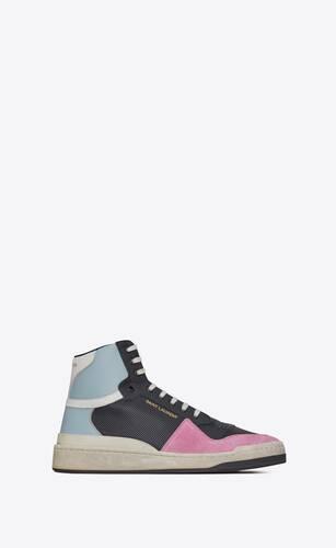 sl24 sneakers mi-hautes en cuir grainé et suède