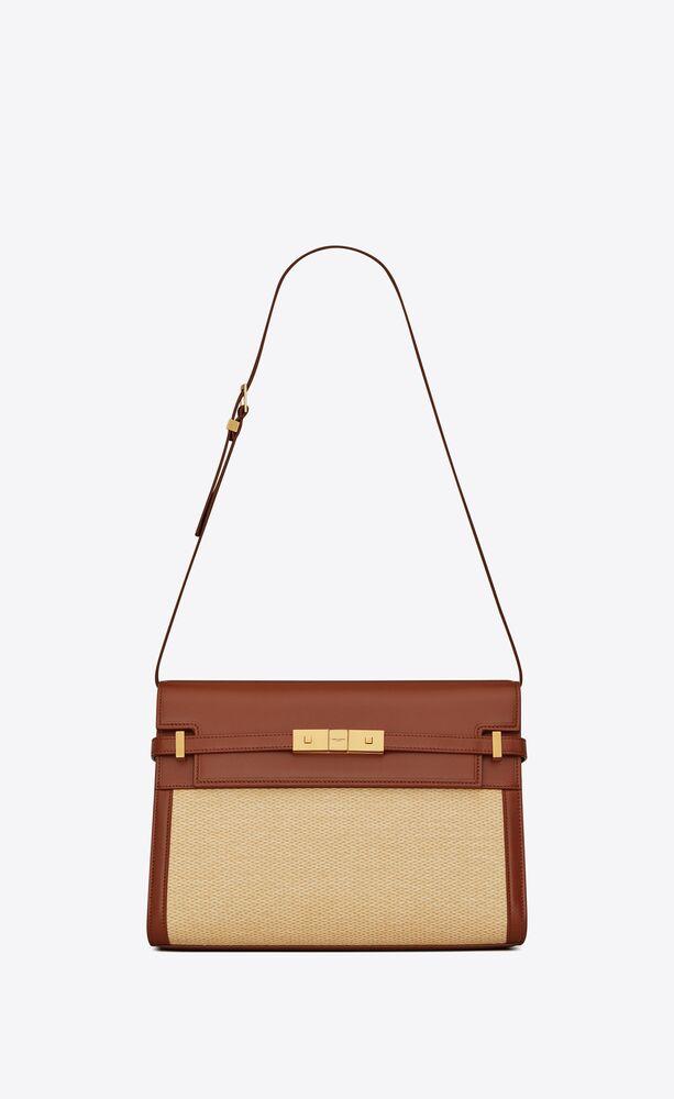 manhattan shoulder bag in raffia and smooth leather