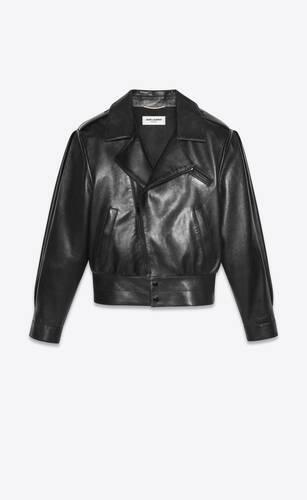 스무스 양가죽 소재의 바이커 재킷