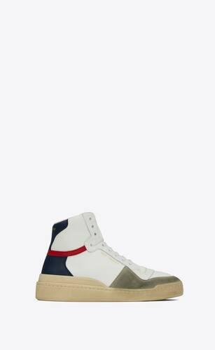 sl24 sneakers mi-hautes en toile, cuir et suède