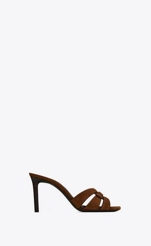 tribute heeled mules in velvet and leather
