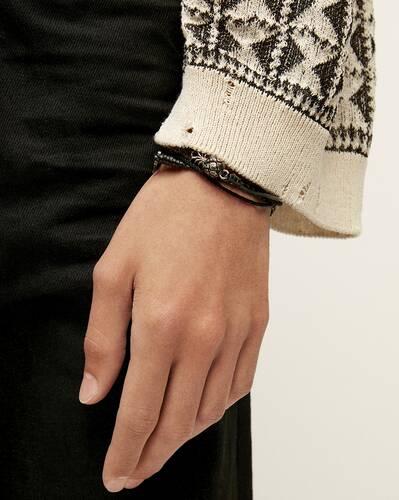 braided leather and passementerie pineapple monogram bracelet