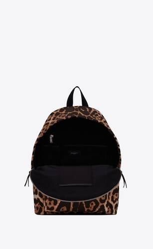 city backpack in leopard-print canvas