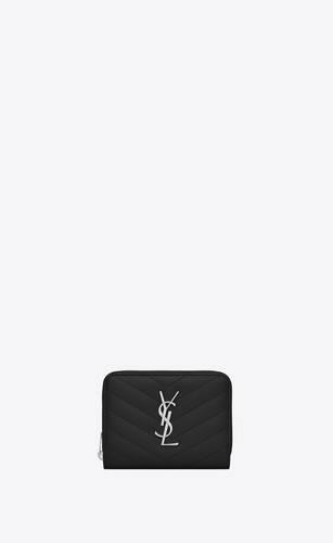 kompaktes saint laurent portemonnaie mit rundumreißverschluss aus schwarzem matelassé-leder mit struktur