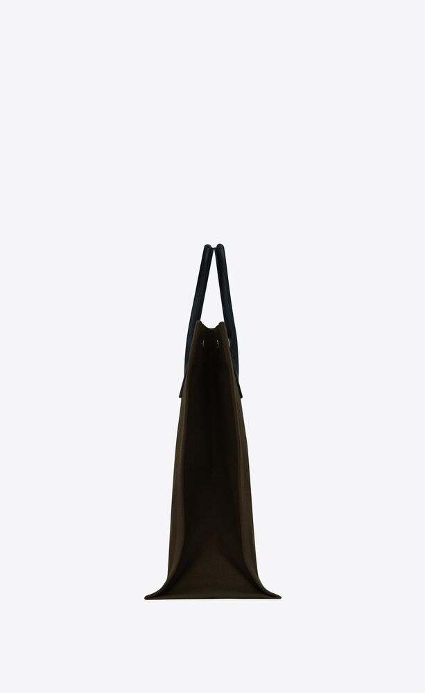 rive gauche n/s tote bag in printed canvas and leather