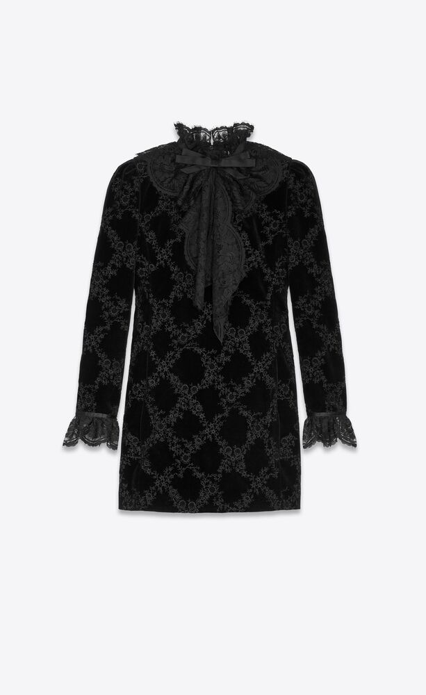 embroidered mini dress in velvet with lace details