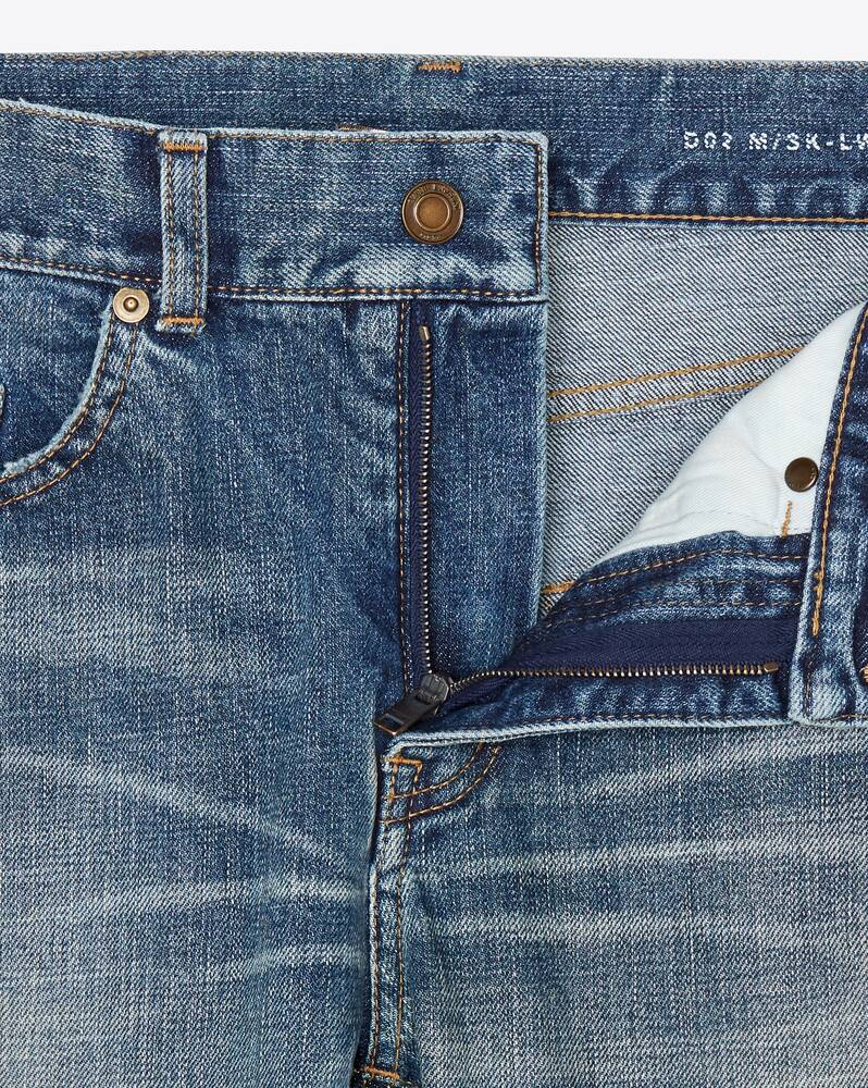 skinny-fit jeans in dark used blue denim