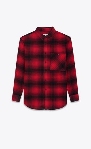 oversized shirt in checked wool