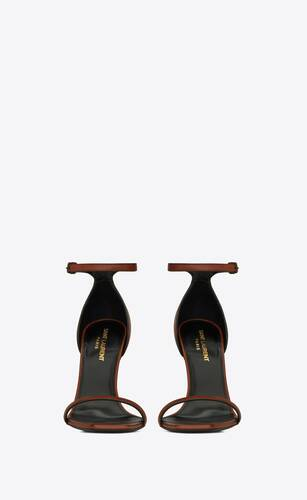opyum sandals in smooth leather with officer-gold tone heel
