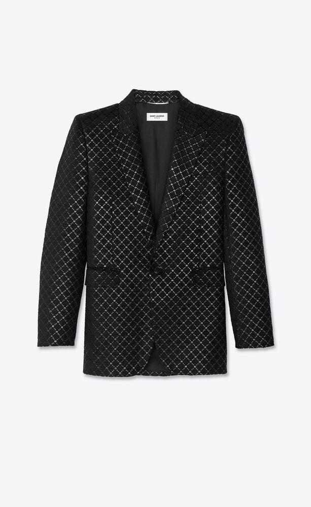 다이아몬드 라메 셔닐 소재의 스퀘어 컷 롱 재킷
