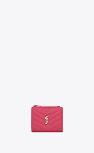 monogram bi-fold wallet in grain de poudre embossed leather