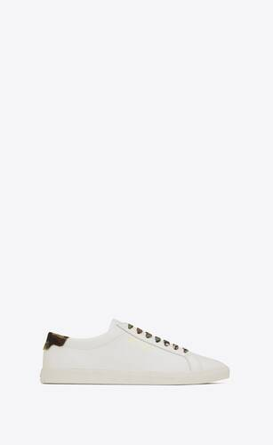 andy sneakers in smooth leather and camouflage-print canvas