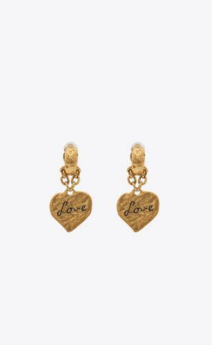 love heart pendant earrings in metal