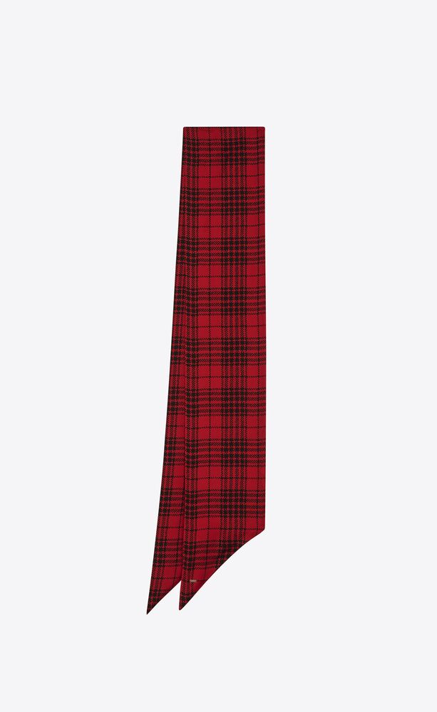 lavallière scarf in prince of wales tartan silk charmeuse