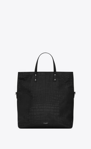 ethan foldable shopping bag in crocodile-embossed matte leather