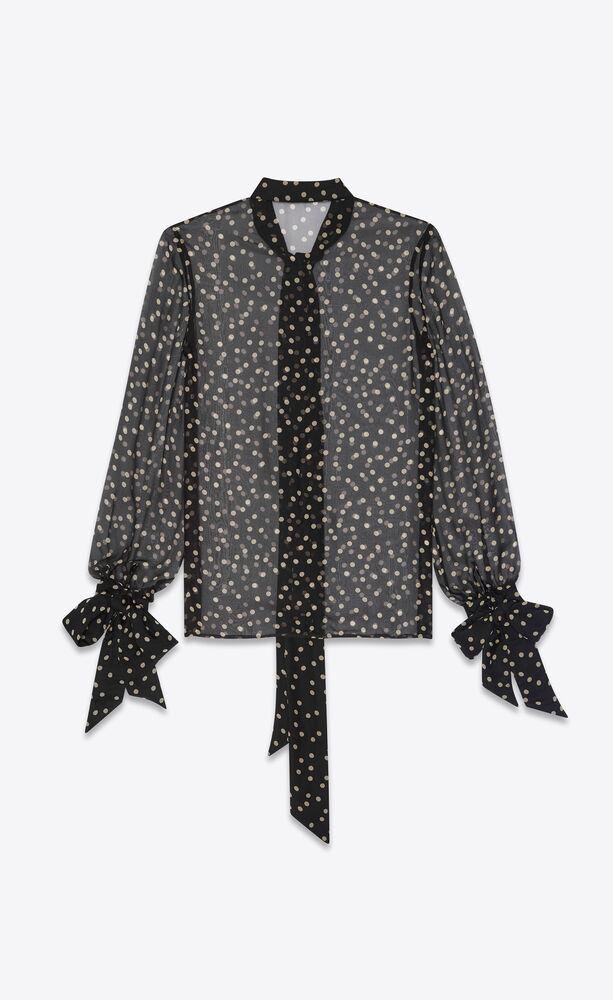 lavallière-neck blouse in dotted silk muslin
