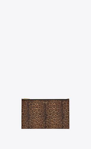 saint laurent paris small pouch in leopard-print leather