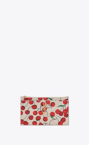 monogram bill pouch in cherry-print leather