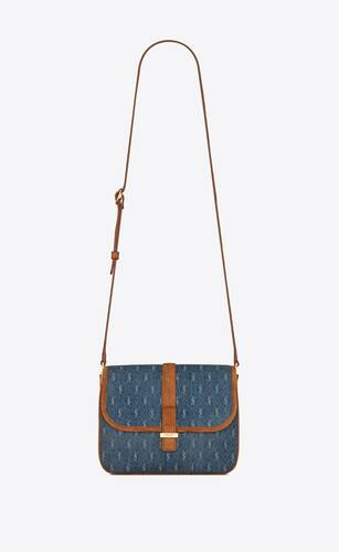 le monogram camera bag in denim and suede