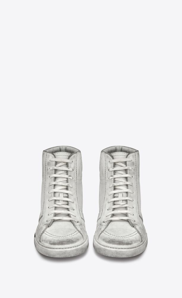 joe sneaker aus weißem leder mit abgenutzter optik