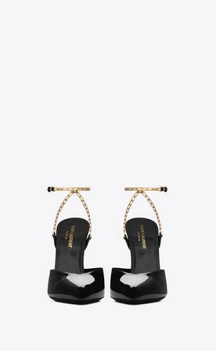 venus chain slingback pumps in patent leather