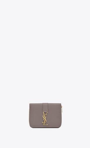 ysl line kompaktes portemonnaie mit reißverschluss aus genarbtem leder