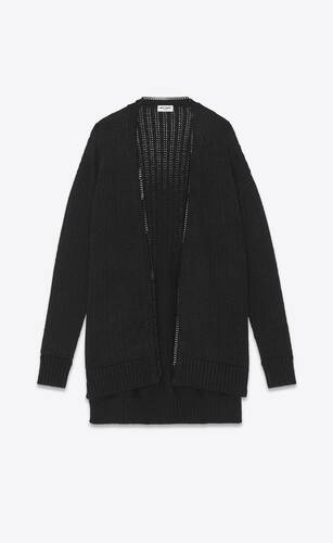 long knit college cardigan with chain trim