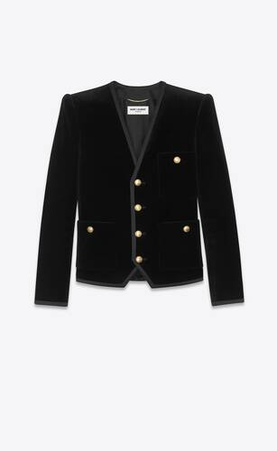 single-breasted jacket in velvet and silk