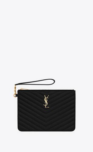 monogram a5 pouch in matelassé leather
