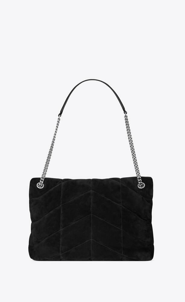 puffer medium bag in quilted suede and lambskin