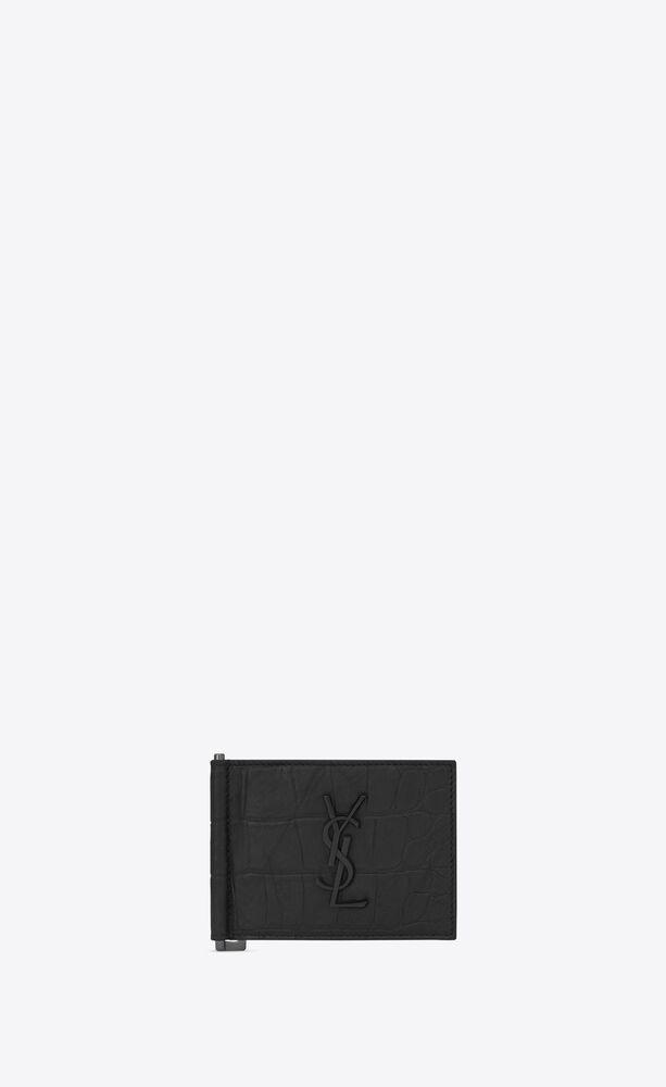 크로커다일 무늬가 새겨진 블랙 가죽 소재의 모노그램 생 로랑 지폐 클립 지갑