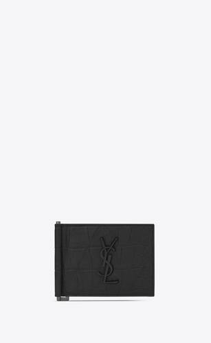 monogram bill clip wallet in crocodile embossed leather
