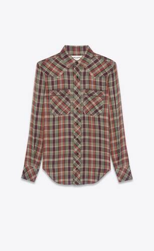 chemise western en viscose à carreaux