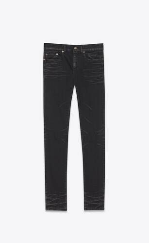 cropped mid-rise jeans in lightly coated black stretch denim