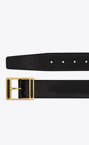 screen buckle belt in lacquered python