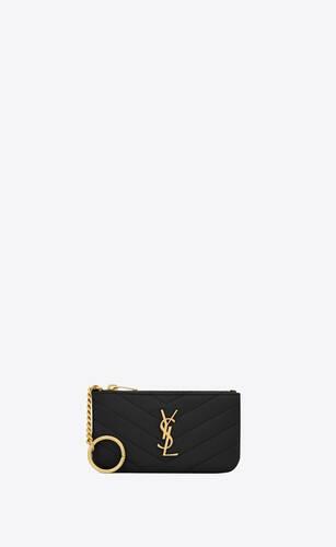 schlüssel-beutel aus schwarzem matelassé leder