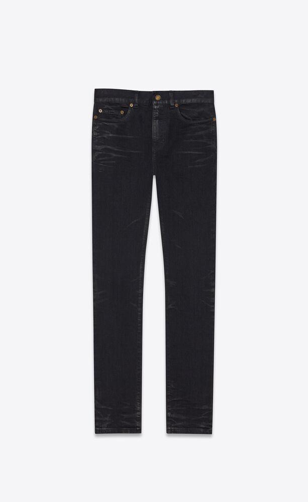 cropped skinny-fit jeans in coated black stretch denim