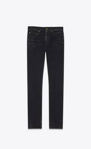 cropped skinny-fit jeans in coated black stretch denim