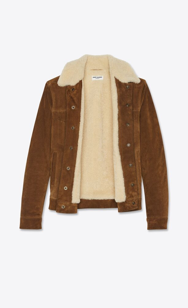 short jacket in suede and shearling