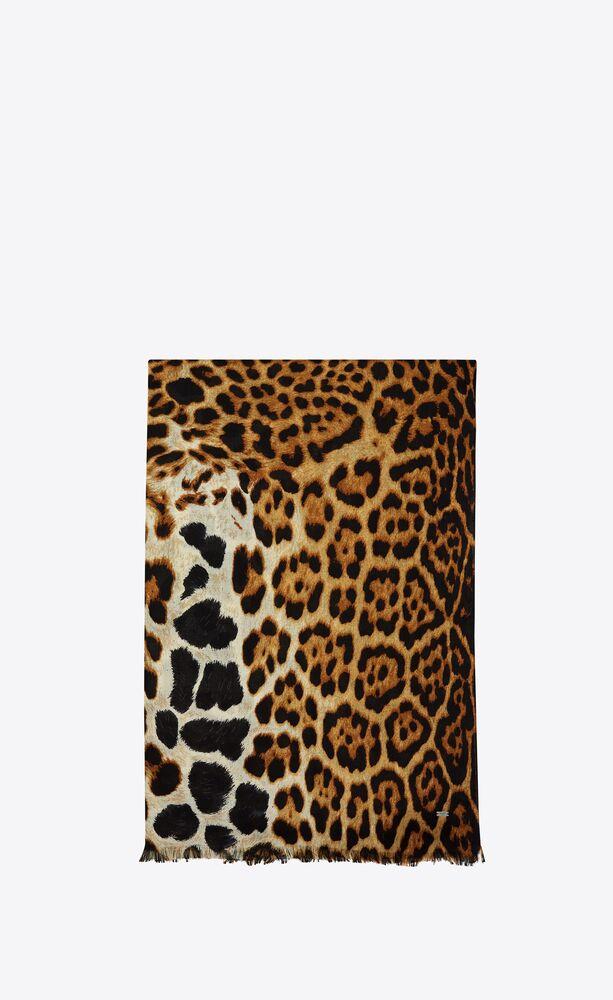 leopard patterned scarf in silk etamine