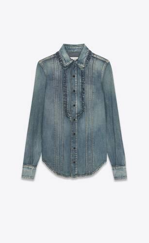 ruffled western denim shirt in dirty medium vintage blue denim