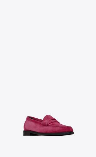 le loafer monogram penny slippers in suede