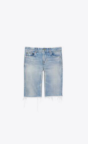 bermuda shorts in worn light blue stretch denim