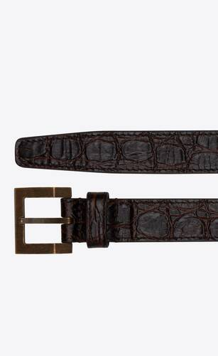 square narrow belt in crocodile embossed leather