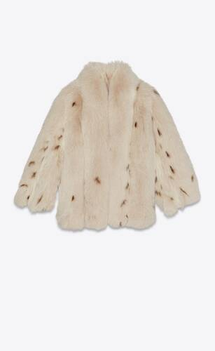 coat in lynx-print fox fur