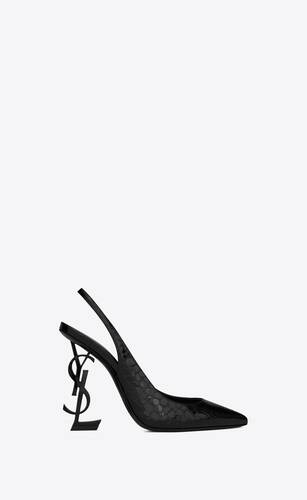 opyum slingback pumps in alligator-embossed patent leather with black heel