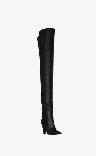 betty over-the-knee boots in shiny grained leather