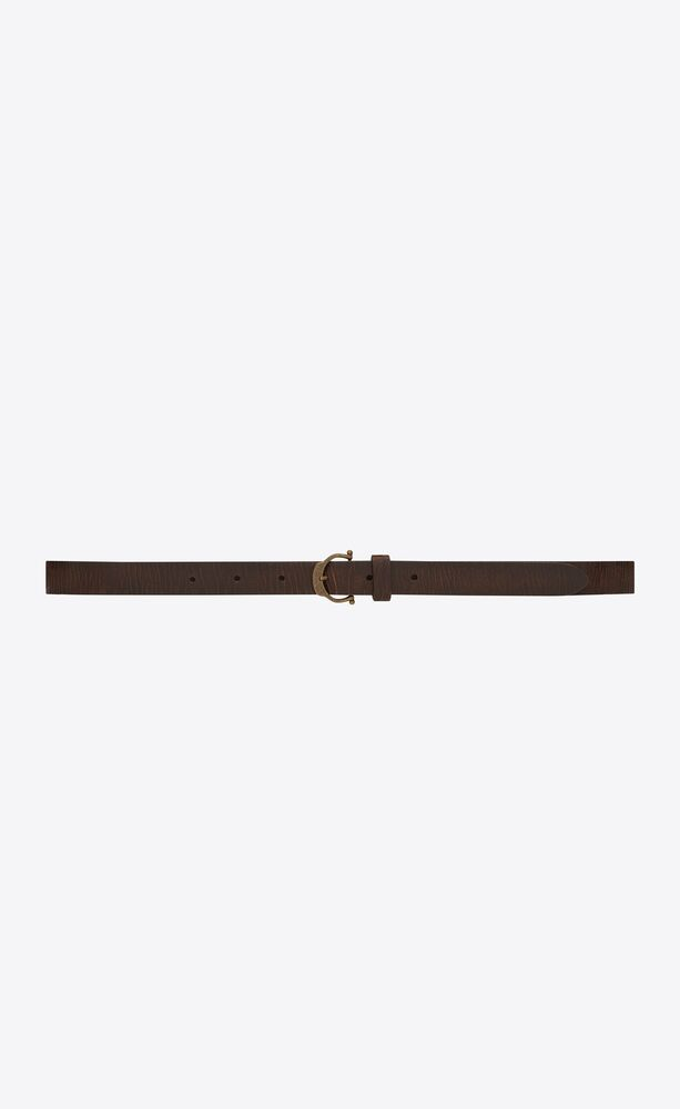 horseshoe buckle thin belt in crackled leather