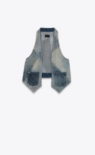 vest in 70's blue trash patchwork denim