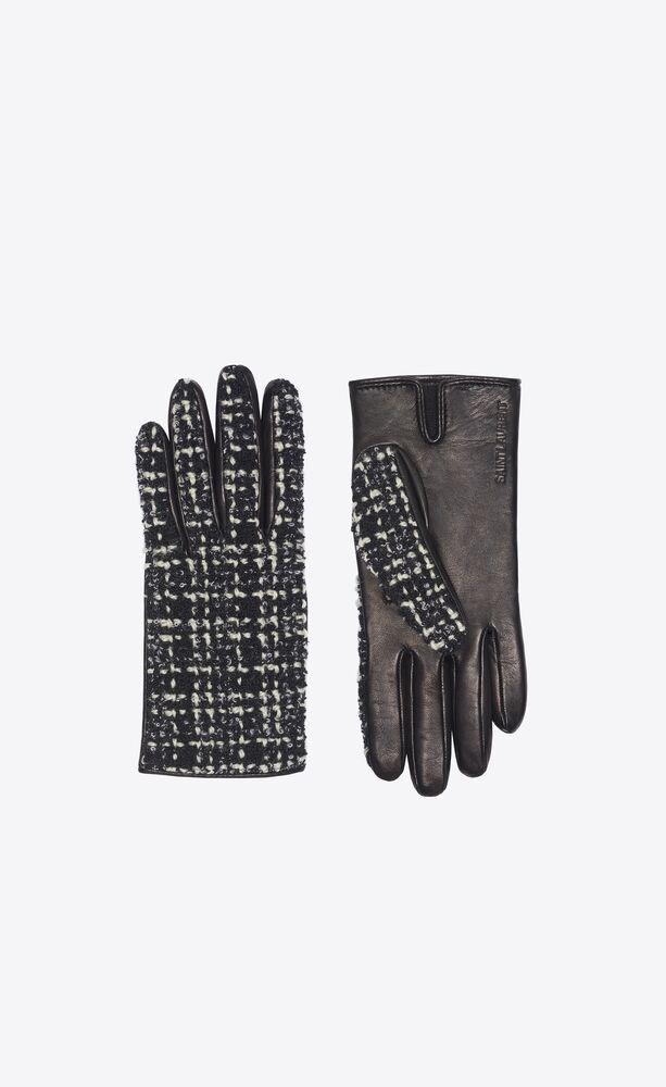 guanti in pelle e tweed di lana a quadri